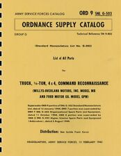 ORD 9 SNL G-503 ~ List of All Parts ~ MB/GPW WWII Jeep ~ Reprnt Manual