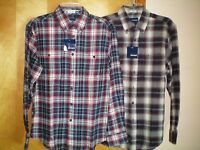 NWT NEW mens size S red navy blue plaid l/s flannel shirt free shipping