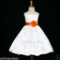 IVORY/ORANGE SPAGHETTI STRAPS SATIN FLOWER GIRL DRESS 12M 18M 2 3/4 5/6 8 10 12
