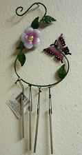 PURPLE BUTTERFLY FLOWER YARD ART WIND CHIME GARDEN DECOR WALL HANGING OR BY HOOK