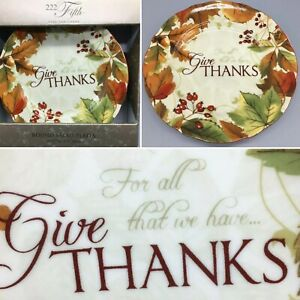4 222 Fifth Thanksgiving Harvest Festival Salad Plate Set Give Thanks Fall Leaf