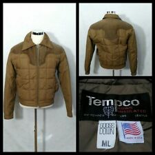 Tempco Vintage Down Jacket Men's Large Brown 1980's Full Zip w/Pockets Inv#Z1689