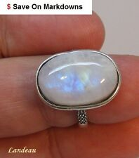 Rare 11 ct NATURAL FIRE BLUE MOONSTONE Sure Fit SILVER RING