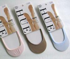 nwt HUE ladies sheer foot sock liners SET OF 3 PAIRS, m/lg, blue, tan, pink c/p