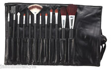 TRAVEL Pro qualità TRUCCO 12 PZ IN LEGNO PENNELLI Cosmetici Make Up Set & Pouch Bag