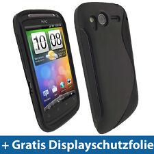 Schwarz TPU Gel Tasche für HTC Desire S Android Handy Hülle Case Etui Skin