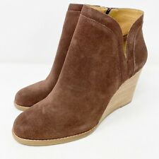 NEW $130 Lucky Brand Dark Brown Suede YIMINA Ankle Boots US 10 M Zip Up Booties