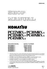 Komatsu PC27MRX-1 PC30MRX-1 PC35MRX-1 Excavator Service Shop Manual in binder