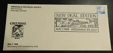 Greendale WI New Deal Station Stamp Cover First Day of Issue 1988