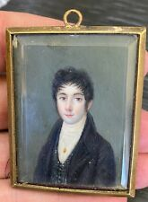 19thc French miniature painting bronze frame pendant