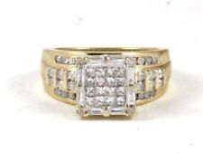 Diamond Right Hand Ring 1.58ct 7.4g 10k Yellow Gold Princess Baguette and Round
