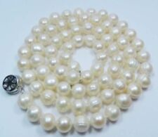 Natural 10-11mm White Akoya Cultured Pearl Necklace 32""