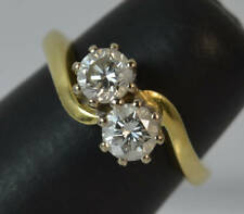 Forever Us Two Stone Round Cut 1.00 Ct Solitaire Ring Real 10k Yellow Gold
