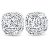 "1/2 Ct TDW Genuine Diamond Cushion Halo Studs 10k White Gold 1/3"""