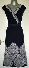 Maine New England Navy blue/light grey patterned dress size 22