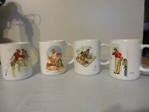 NORMAN ROCKWELL FISHING THEME 4 COFFEE CUPS MUGS MUSEUM COLLECTION SET 1987 !!!