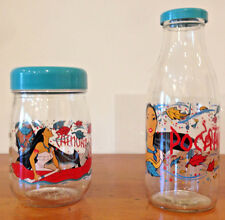 Vintage 90s Disney Pocahontas Glass Jar Canister Storage Set w/ Blue Lids