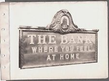 VINTAGE 1920-30'S KALAMAZOO MICHIGAN THE BANK WHERE YOU FEEL AT HOME SIGN PHOTO