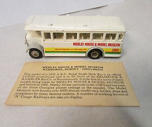 """Lledo Promotional Model  """"Merley House & Model Museum""""  Single Decker Bus w/COA"""