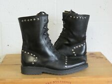 BLACK LEATHER STUDDED MID CALF  BIKER BOOTS SIZE 4 /37 GOOD USED CONDITION