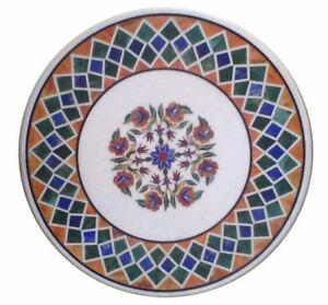 """36"""" round Marble Table Top Pietradura multi color stones Floral Inlay art Work"""