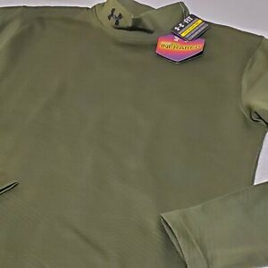 UNDER ARMOUR Mens Small ColdGear Fitted Mock Compression Shirt Green 1238393 UA