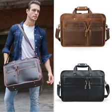 "Men Leather 17"" Laptop Briefcase Shoulder Bag Travel Hold On Trolley Luggage"