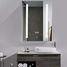 600x450mm Bathroom LED Mirror Cabinet Double Sided Mirrors with Clock/Socket CE