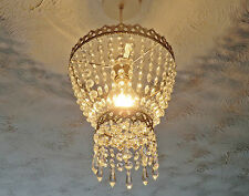 VINTAGE RETRO LOOK CHANDELIER LIGHT SHADE CHROME GLASS DROPS ANTIQUE CHROME LAMP