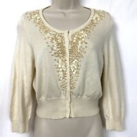 Bebe Silk Cashmere Beaded Cardigan Sweater Large Beige Ivory Cropped Scoop Neck