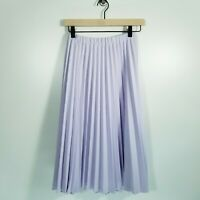 Vintage XS S Lilac Purple Pastel Goth Accordion Pleated Midi Skirt Kitsch