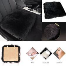 1 Black 100% Sheepskin Long Wool Car Van Seat Cover Chair Cushion Pad Breathable