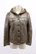 NWT$10345 Brunello Cucinelli Metallic Leather Hooded Shearling Fur Coat 42M A191