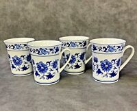 Set 4 Bombay Mugs ASIAN GARDEN BLUE & WHITE Cups Cobalt Floral Ceramic Porcelain