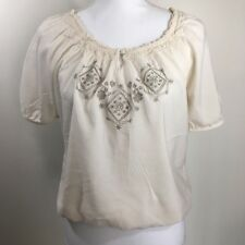 Sonoma Womens Top~Peasant~Cap Sleeves~Scoop Neck~Embroidery~Size S