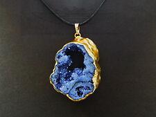 Achat Druse, Achat Geode, Anhänger,Druse, 24 Karat vergoldet, Quarz,Lapis Lazuli