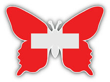 Switzerland Flag Butterfly Car Bumper Sticker Decal 5'' x 4''