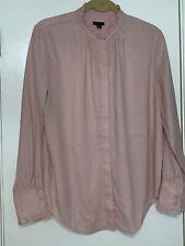 Ann Taylor Ruffle Neck Button Down Blouse in Blush Petal Size L