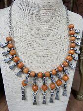Quirky Statement Bead & Metal Choker Necklace Bib Unusual Collar Ethnic Boho