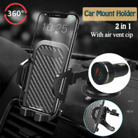 QC3.0 Fast Car Charger & 2in1 Car Phone Mount Holder Stand For Samsung S10 S20+