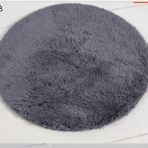 Artificial Plush Round Carpets Anti-Slip Mats For Baby Crawling Soft Rugs Beige