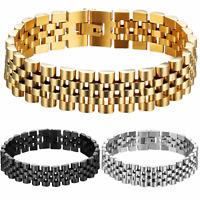 Herren Edelstahl Armband Gold Schwarz Silber Panzerkette Königskette Bracelet
