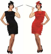 8-16 Flapper Costume + Headband / Cigarette Holder 20s Ladies Fancy Dress Outfit
