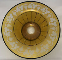 """Czech Amber Glass Footed Fruit Bowl Etched Cut to Clear w Enamel & Paint ~12"""""""