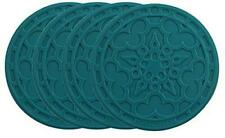 "Le Creuset Silicone French Coasters, Set of 4 - 4"" diameter , Caribbean"