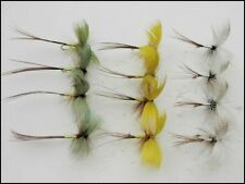 Drake Mayflies, 12 Pack Coloured Drake Mayfly Fishing Flies, Green, Grey, Yellow
