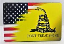 "AMERICAN FLAG, DONT TREAD ON ME, Aluminum Trailer Hitch plug Cover, UV, 4"" X 6"""