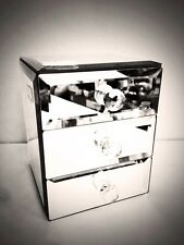 Mirrored Jewellery Box With 3 Draws  With Black Velvet Inside Stuning Gift