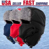 NEW Trapper Bomber Warm Russian Trooper Fur Earflap Winter Ski Hat Men Women Cap