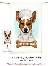 """Rat Terrier Dog 29' x 29"""" Flour Sack Towels, Bone-Appetite !"""